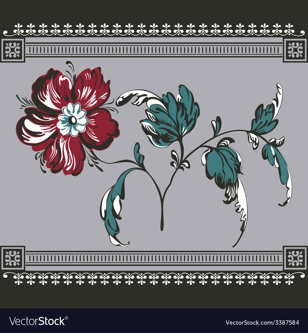Border vintage with flower vector | Price: 1 Credit (USD $1)