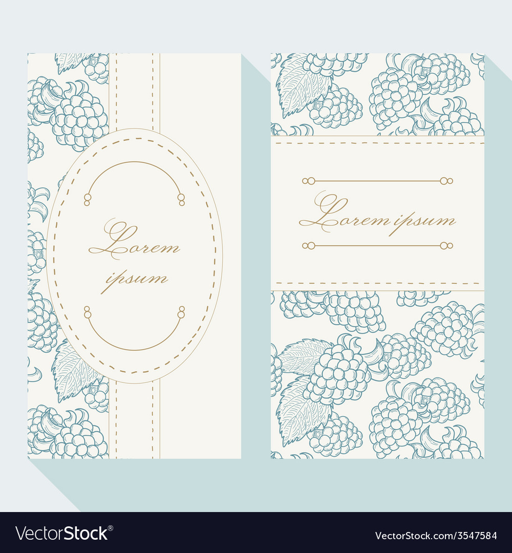 Business card set with outline blackberries vector | Price: 1 Credit (USD $1)