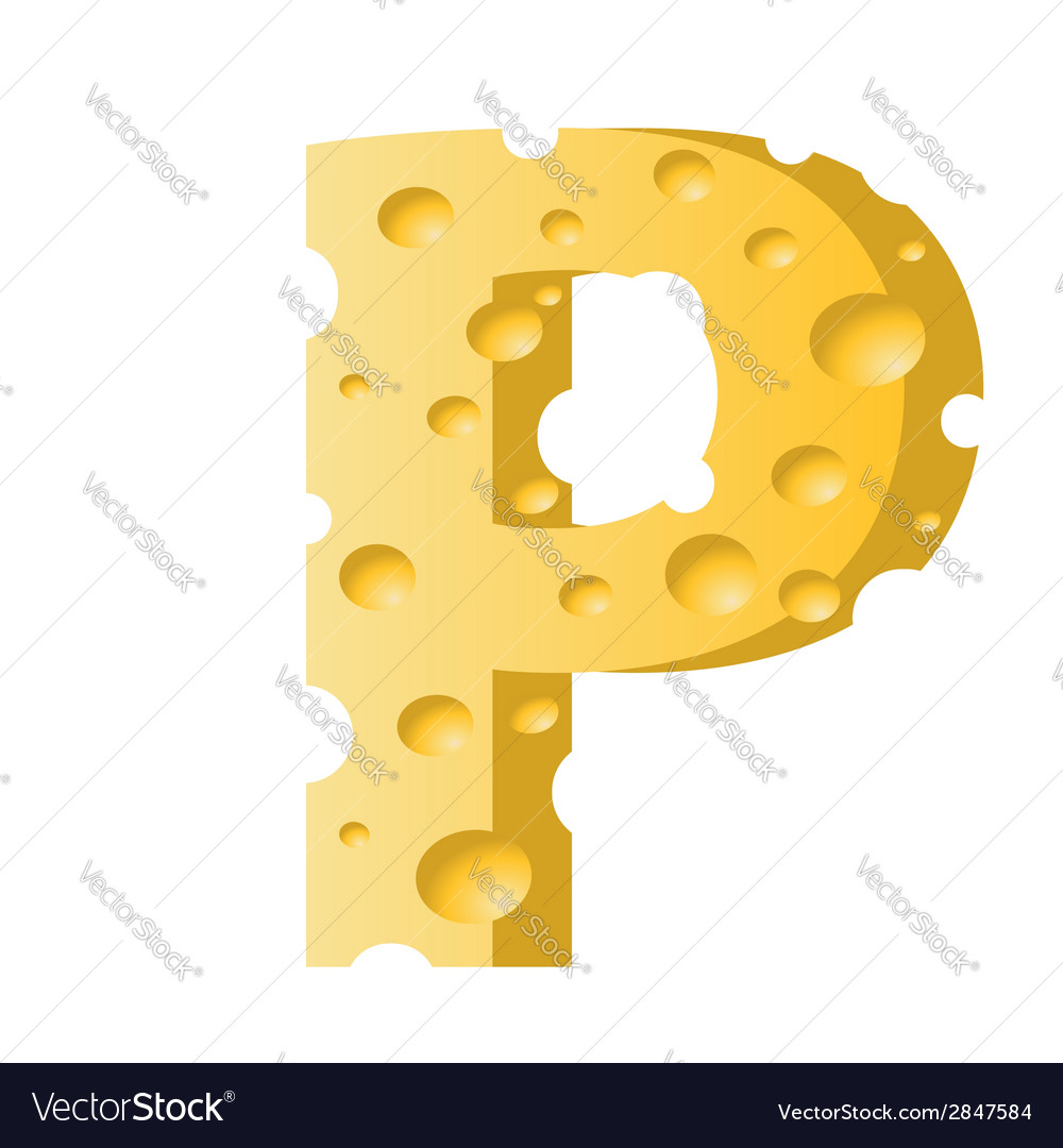 Cheese letter p vector | Price: 1 Credit (USD $1)