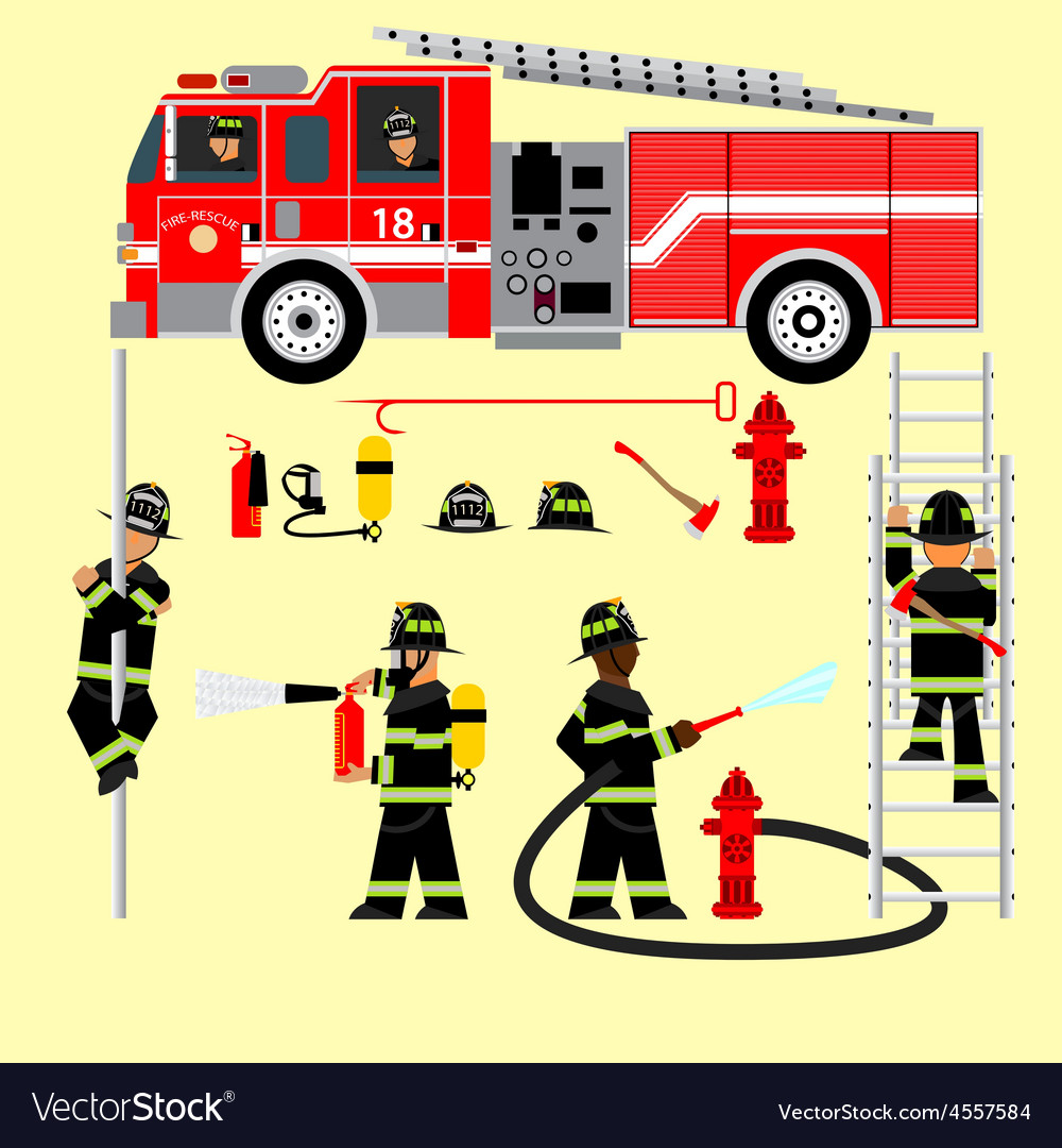 Fire truck and fireman 2 vector | Price: 1 Credit (USD $1)