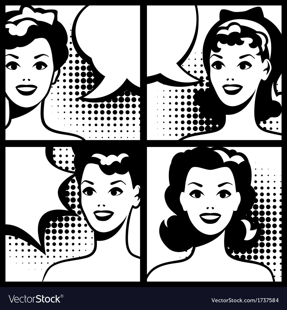For comic books with retro girl in pop art style vector | Price: 1 Credit (USD $1)