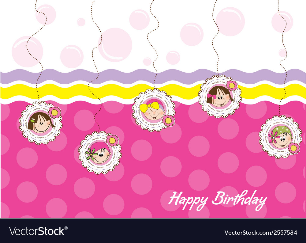 Happy birthday greeting card with five little vector | Price: 1 Credit (USD $1)