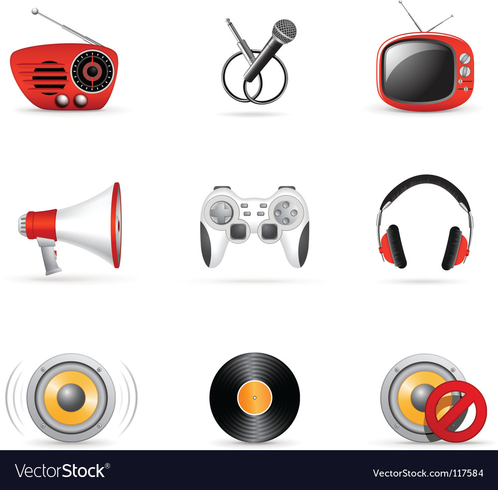 Media and music icons vector | Price: 1 Credit (USD $1)
