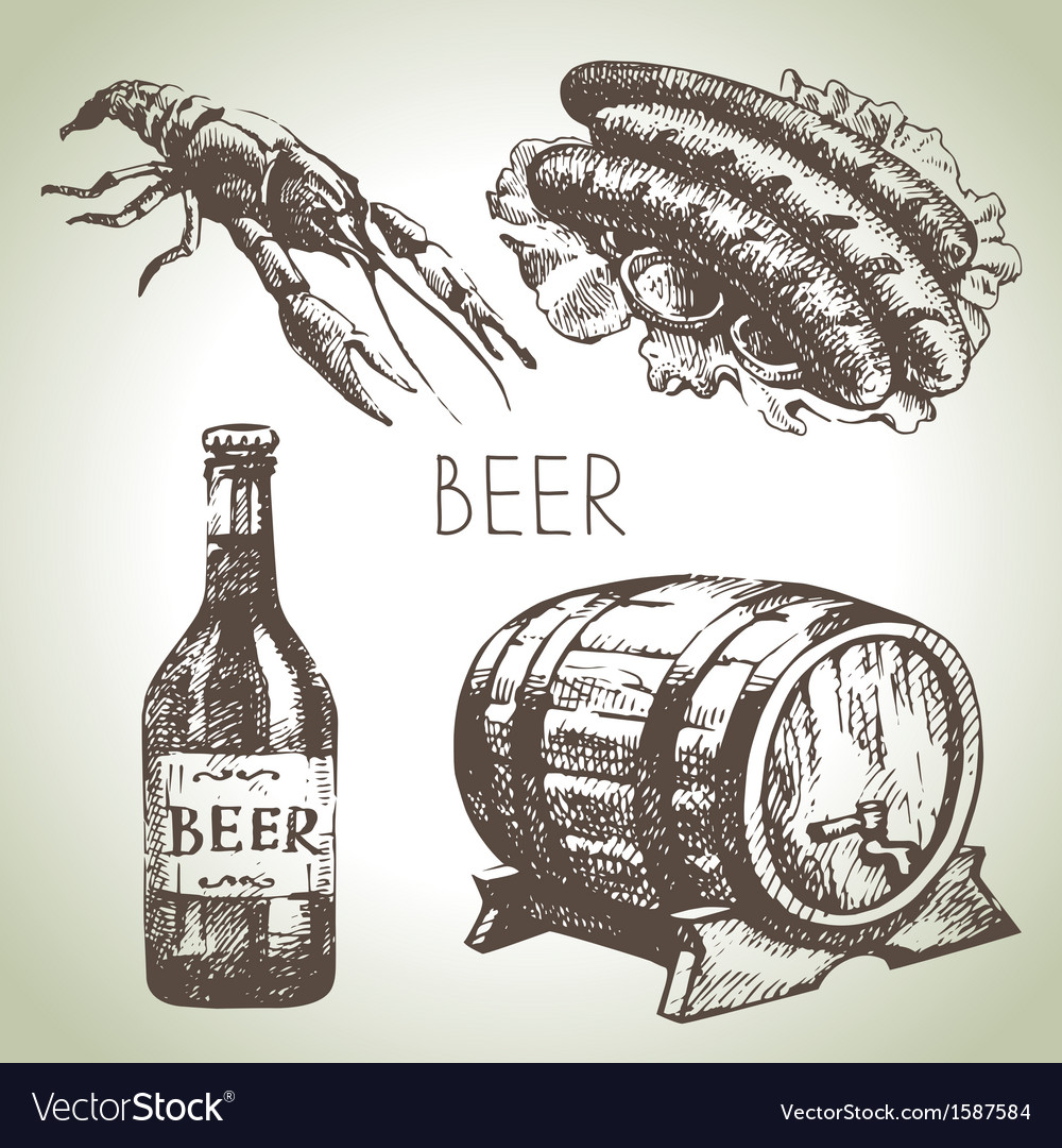 Oktoberfest set of beer hand drawn vector | Price: 1 Credit (USD $1)