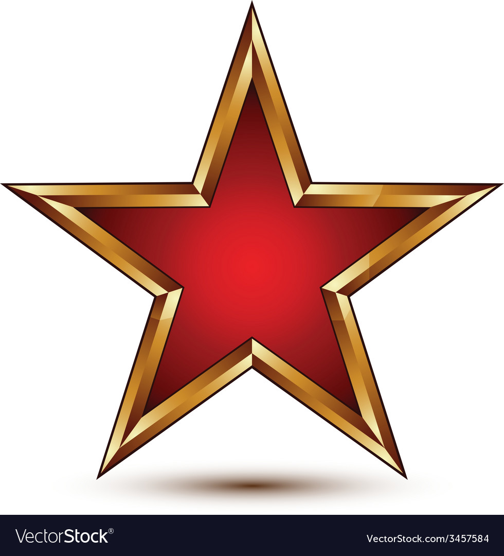 Refined red star with golden outline festive 3d vector | Price: 1 Credit (USD $1)