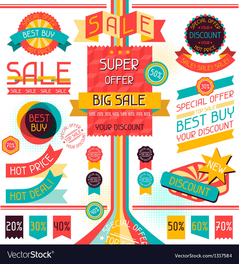 Set of sale labels and stickers in retro stile vector | Price: 3 Credit (USD $3)