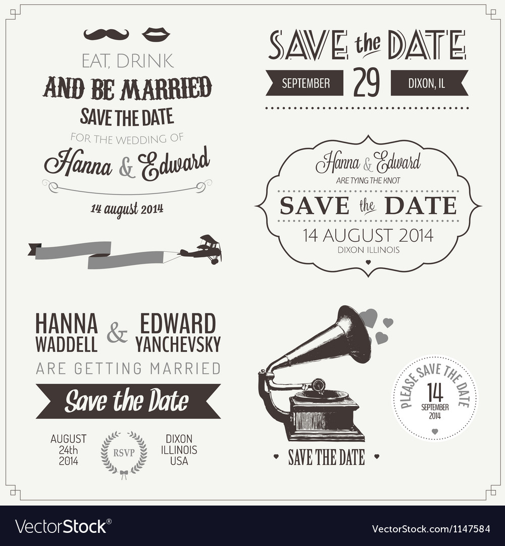 Set of wedding invitation vintage design elements vector | Price: 1 Credit (USD $1)