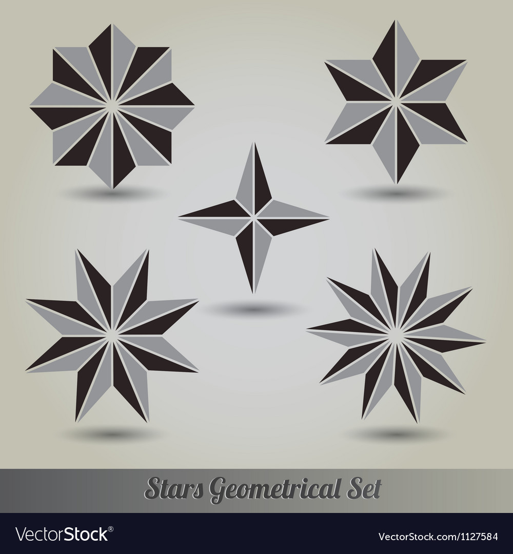 Set stars polyhedron for graphic design vector | Price: 1 Credit (USD $1)