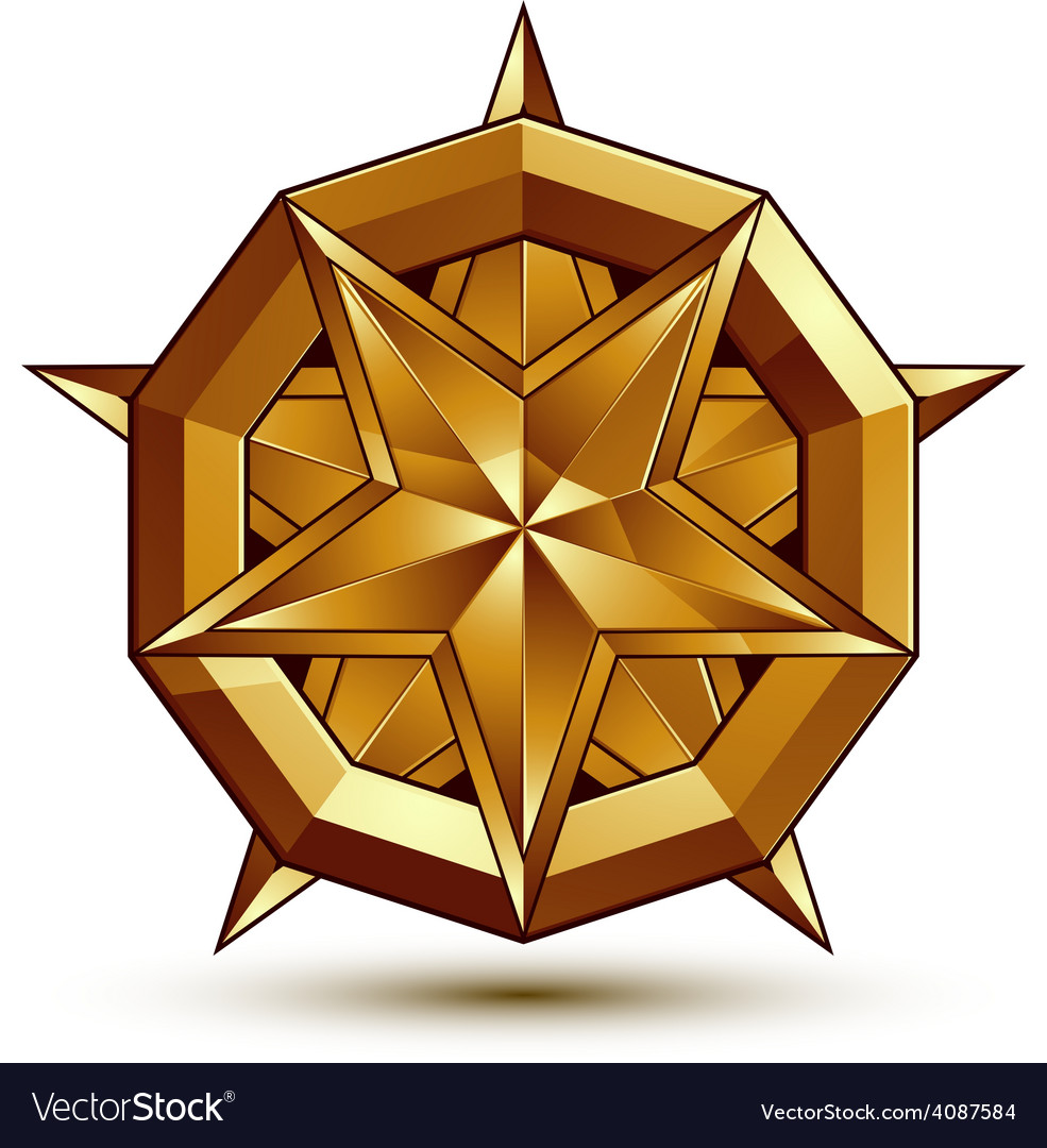 Sophisticated golden star emblem 3d decorative vector | Price: 1 Credit (USD $1)