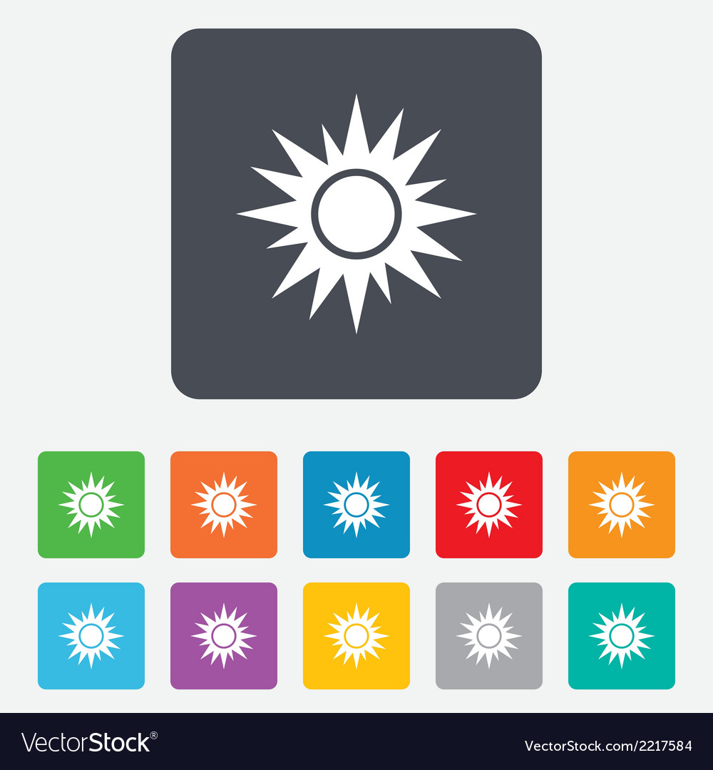 Sun sign icon solarium symbol heat button vector | Price: 1 Credit (USD $1)