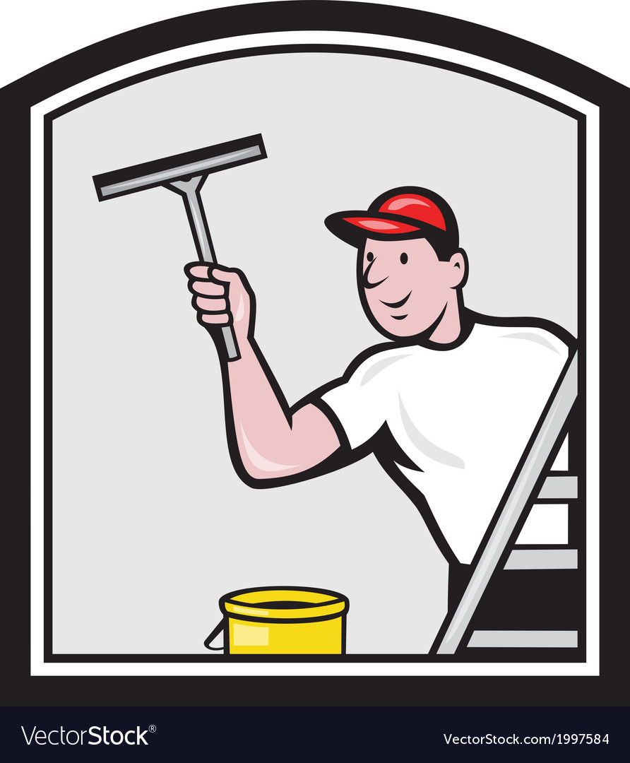Window washer cleaner cartoon vector | Price: 1 Credit (USD $1)