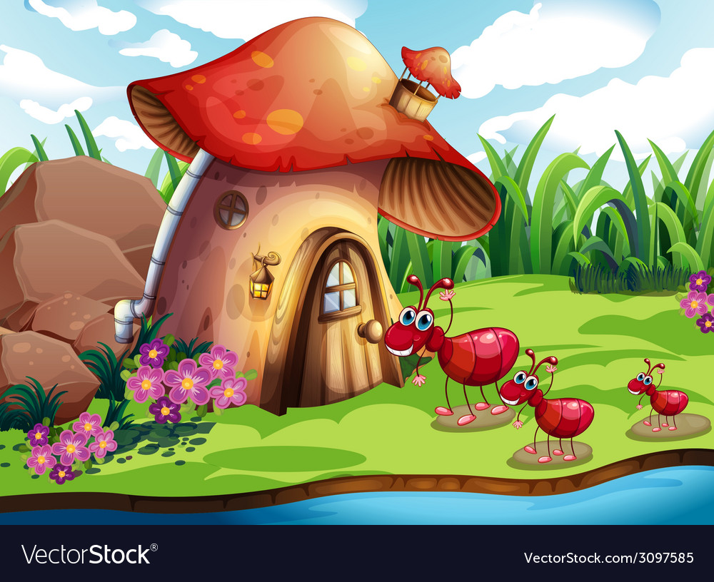 Ant and mushroom vector | Price: 3 Credit (USD $3)