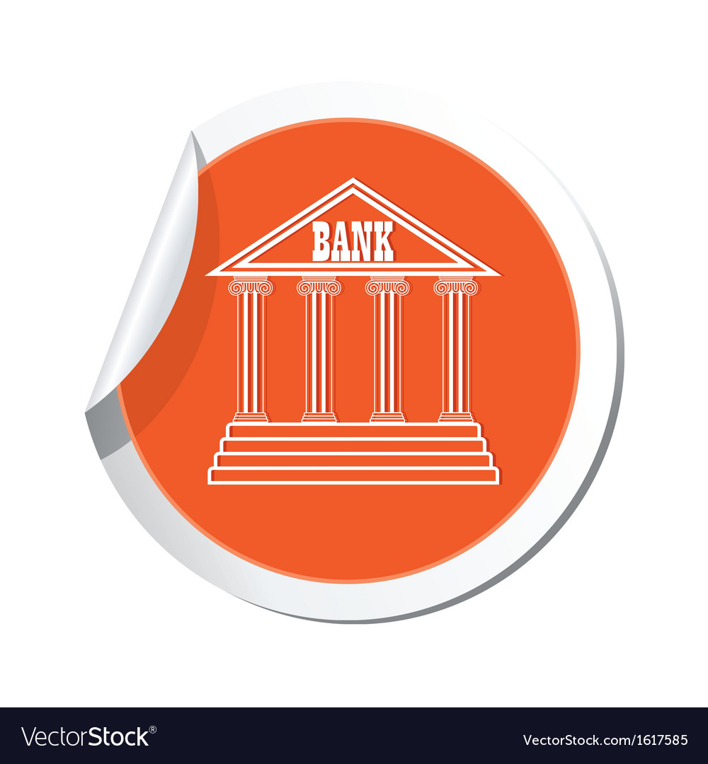 Bank icon orange label vector | Price: 1 Credit (USD $1)