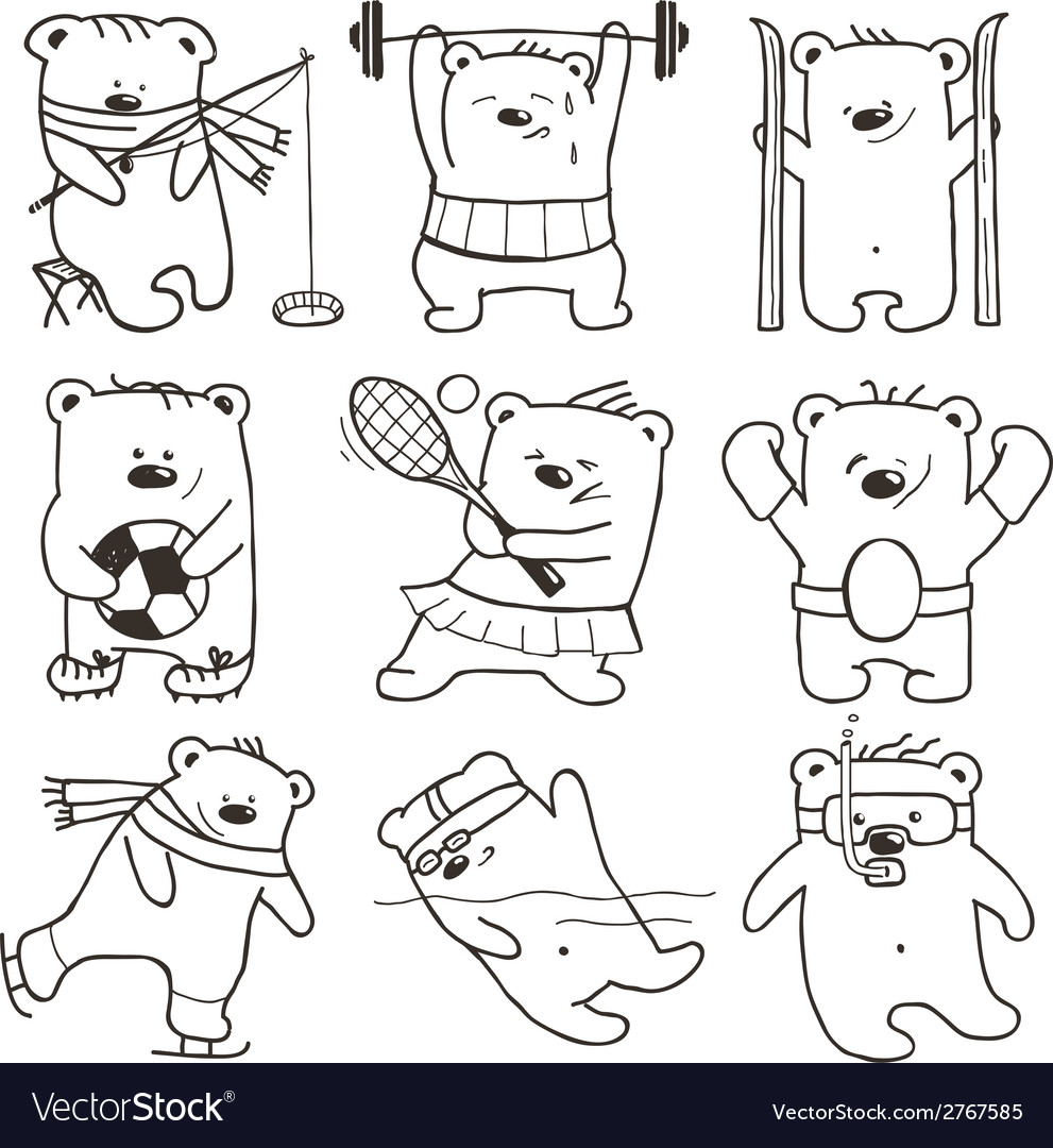 Cartoon sport bears oulines collection vector | Price: 1 Credit (USD $1)