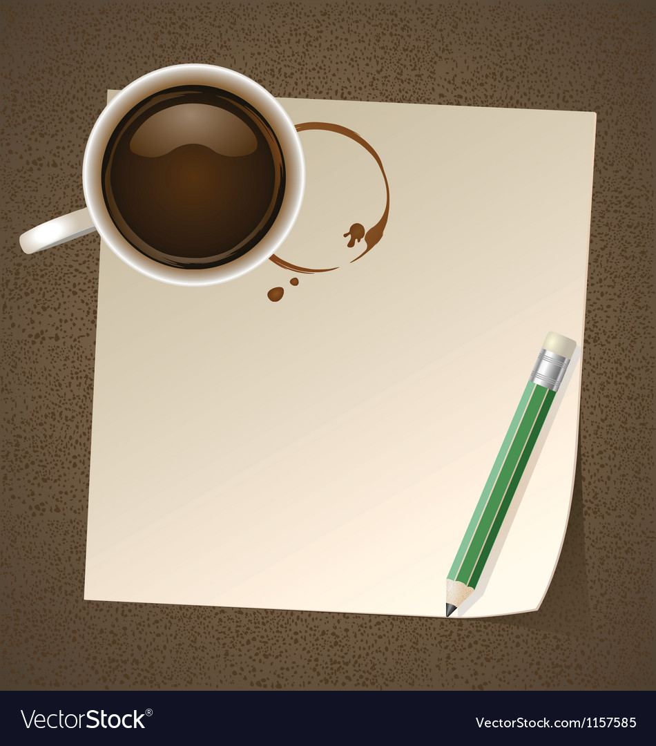 Coffee with paper note vector   Price: 1 Credit (USD $1)