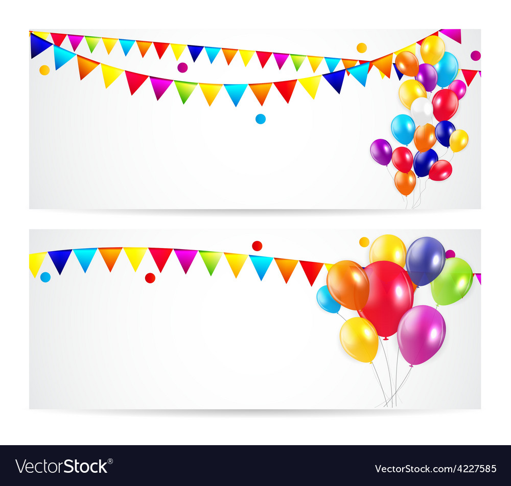 Colored balloons card banner background vector | Price: 1 Credit (USD $1)
