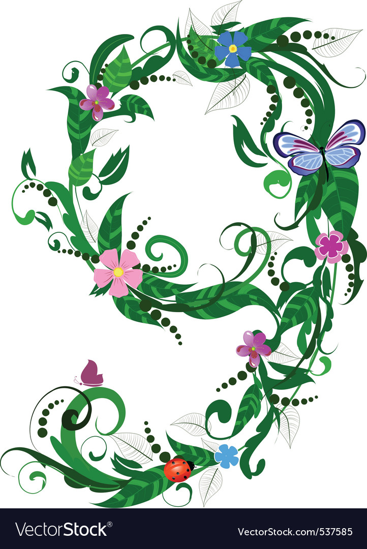 Flower number of butterflies vector | Price: 1 Credit (USD $1)