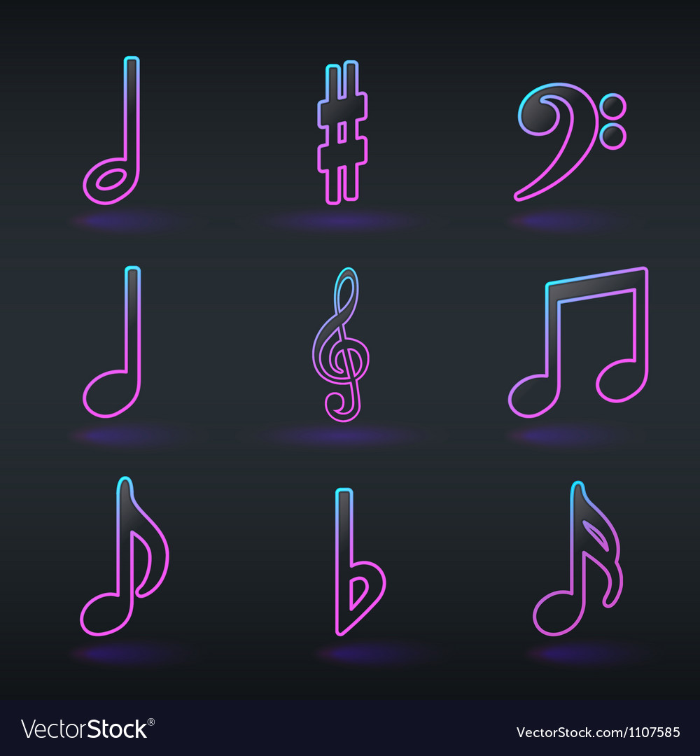 Fluorescent neon musical signs icons vector | Price: 1 Credit (USD $1)