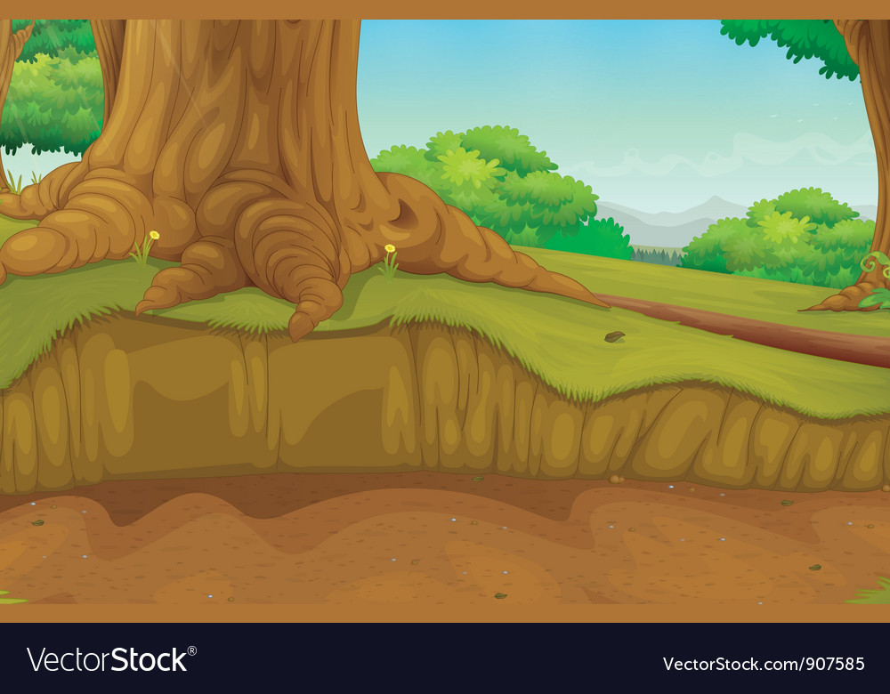 Forest scene at ground level vector | Price: 3 Credit (USD $3)