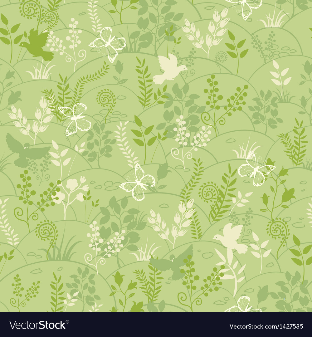 Green nature seamless pattern background vector | Price: 1 Credit (USD $1)
