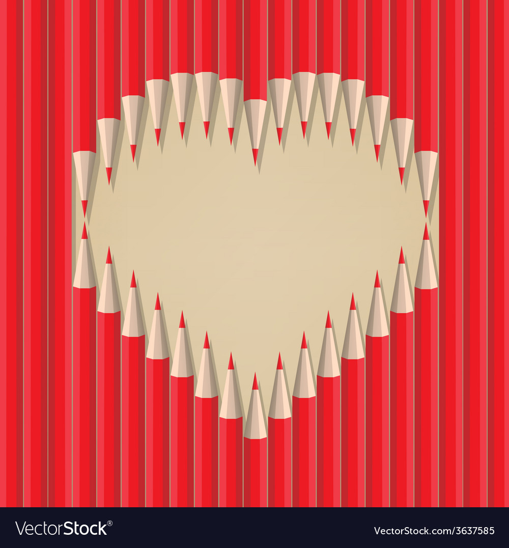 Heart shape out of pencils valentines day vector | Price: 1 Credit (USD $1)