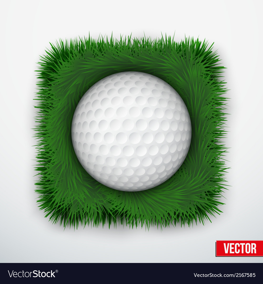 Icon symbol golf ball in green grass vector | Price: 1 Credit (USD $1)