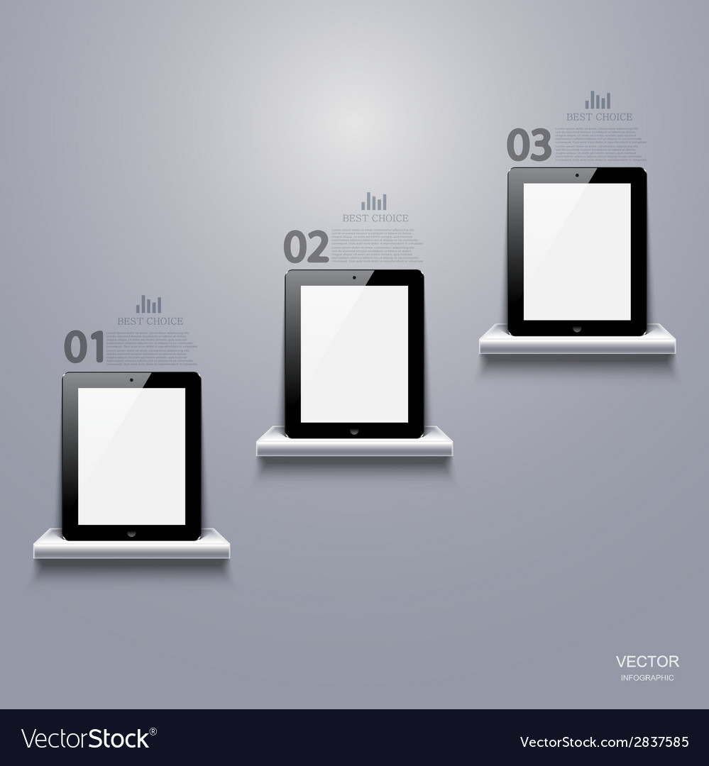 Modern computer tablet infographic vector | Price: 1 Credit (USD $1)
