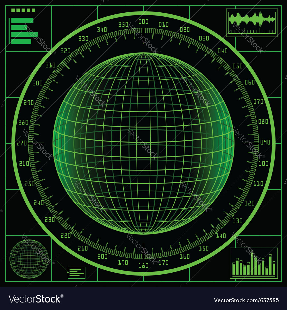Radar screen digital globe vector | Price: 1 Credit (USD $1)