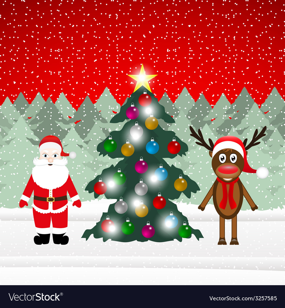 Reindeer and santa claus with christmas tree vector | Price: 1 Credit (USD $1)