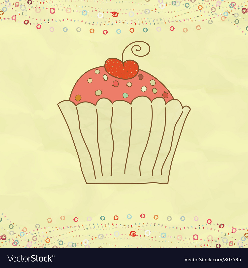 Retro valentines cupcake card vector | Price: 1 Credit (USD $1)