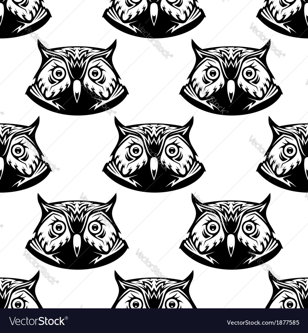 Seamless pattern of wise owl heads vector | Price: 1 Credit (USD $1)
