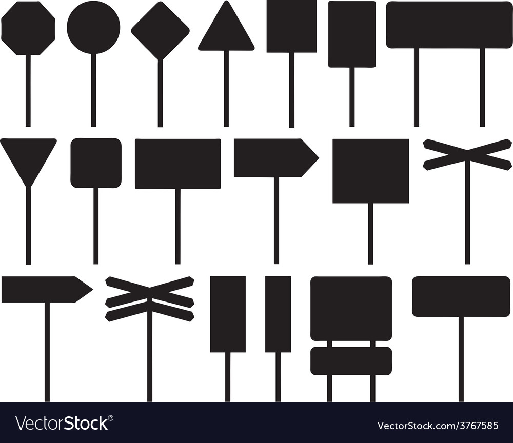 Set of different road signs vector | Price: 1 Credit (USD $1)