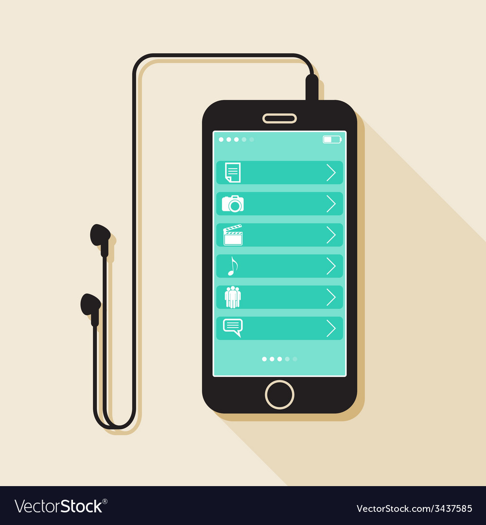 With a mobile phone device in flat style with a vector | Price: 1 Credit (USD $1)
