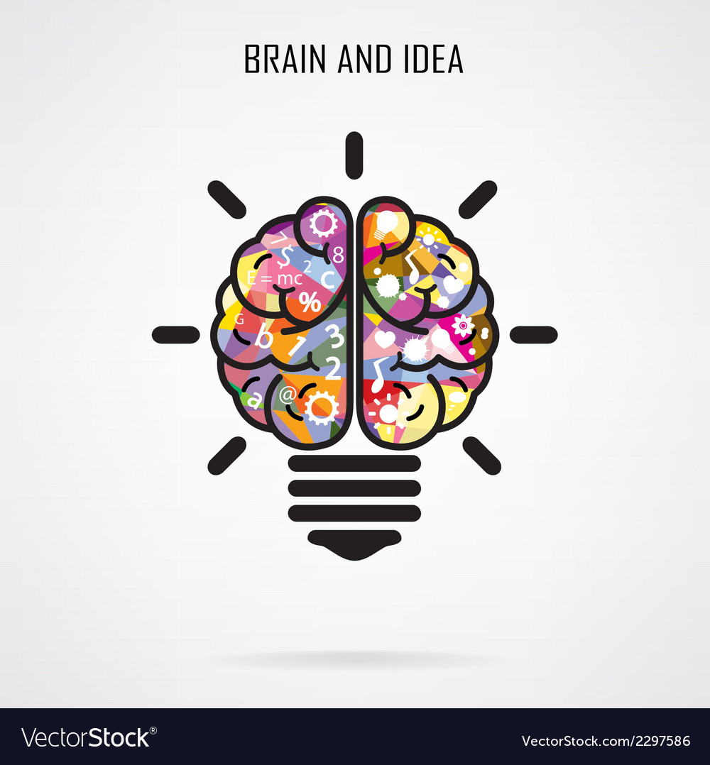 Creative brain idea and light bulb concept vector | Price: 1 Credit (USD $1)