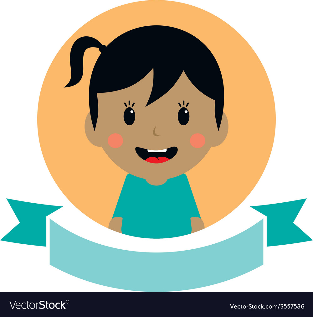 Cute girl cartoon character label vector | Price: 1 Credit (USD $1)