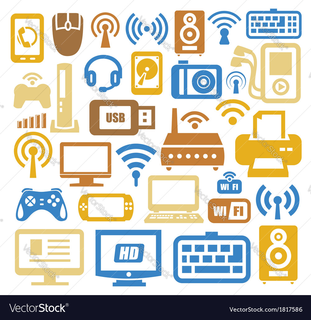 Electronic devices icon set vector | Price: 1 Credit (USD $1)