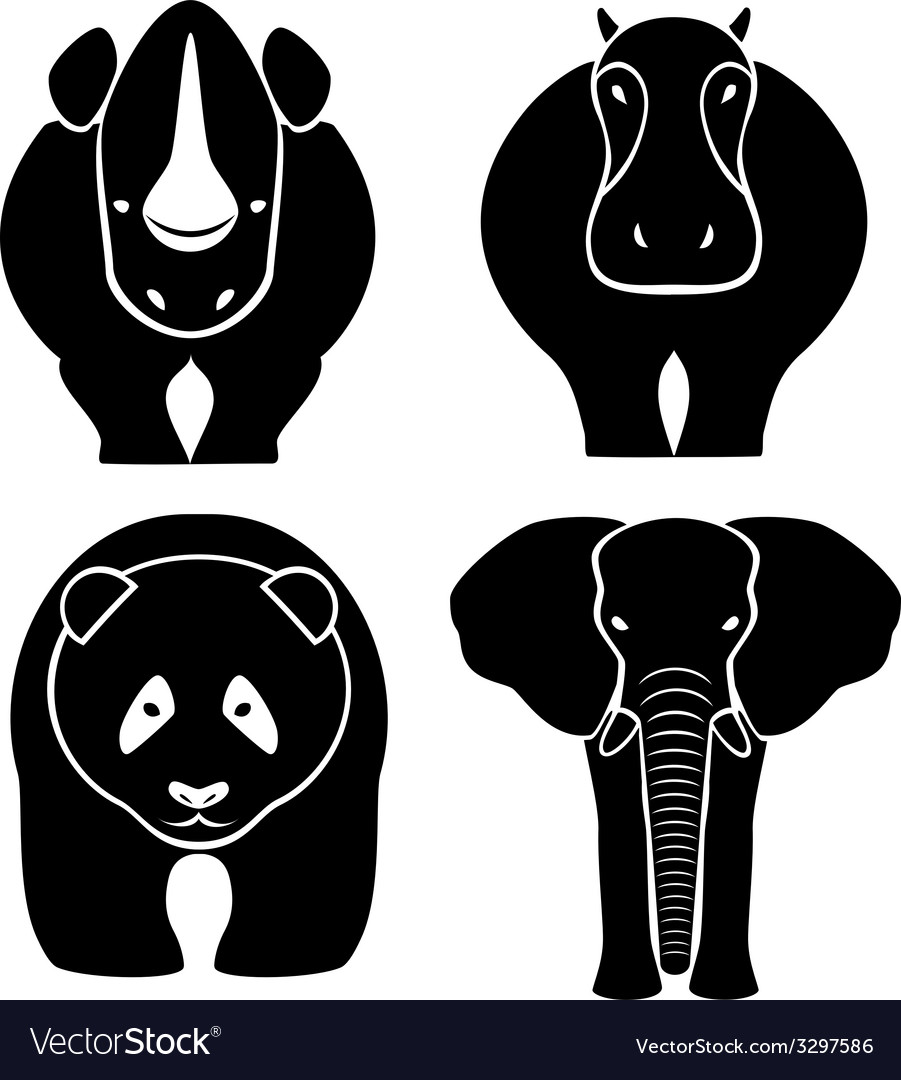 Elephant rhinoceros hippopotamus panda - a vector | Price: 1 Credit (USD $1)