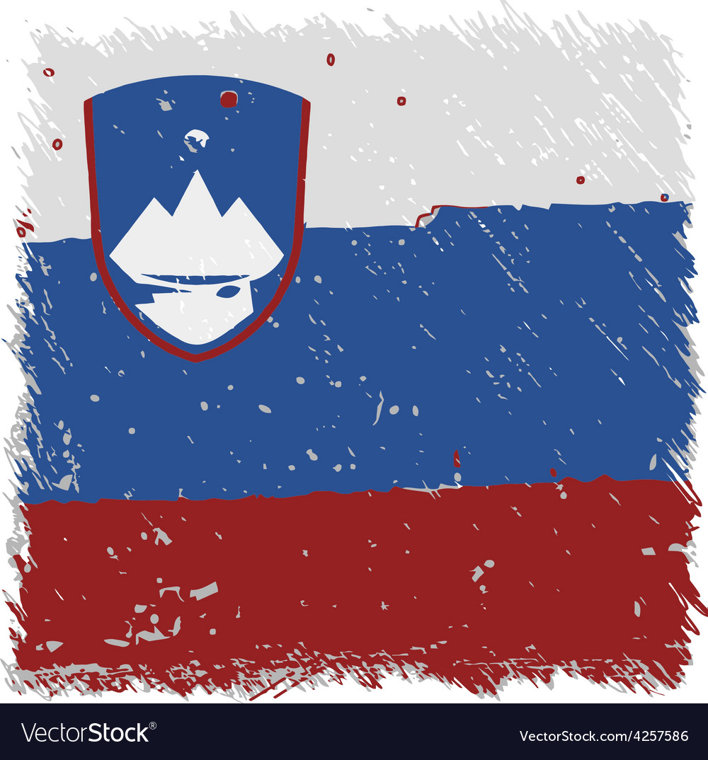 Flag of slovenia handmade square shape vector | Price: 1 Credit (USD $1)