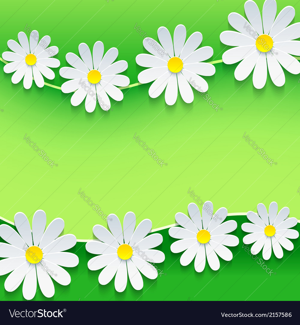 Floral frame with 3d chamomile flower vector | Price: 1 Credit (USD $1)