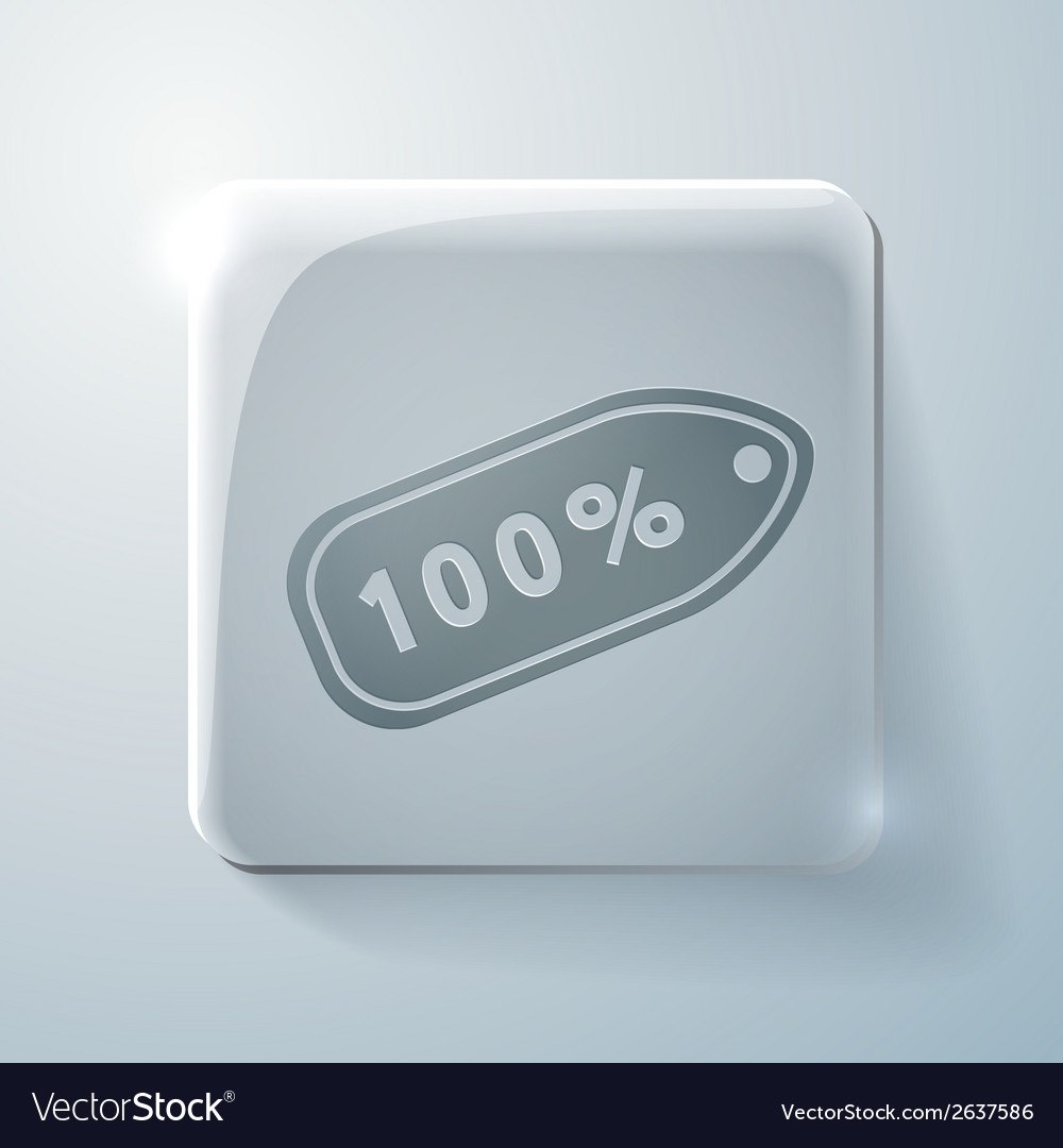 Label percent glass square icon vector | Price: 1 Credit (USD $1)