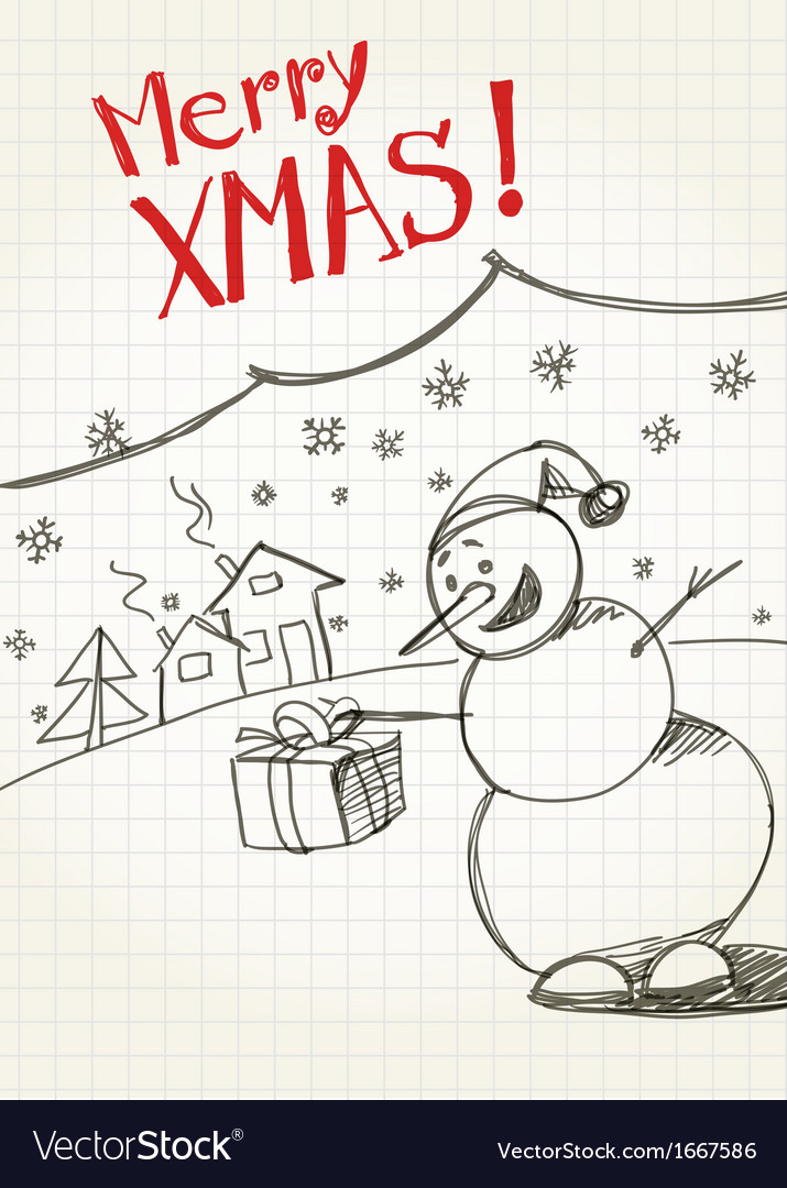 Snowmans greetings vector | Price: 1 Credit (USD $1)