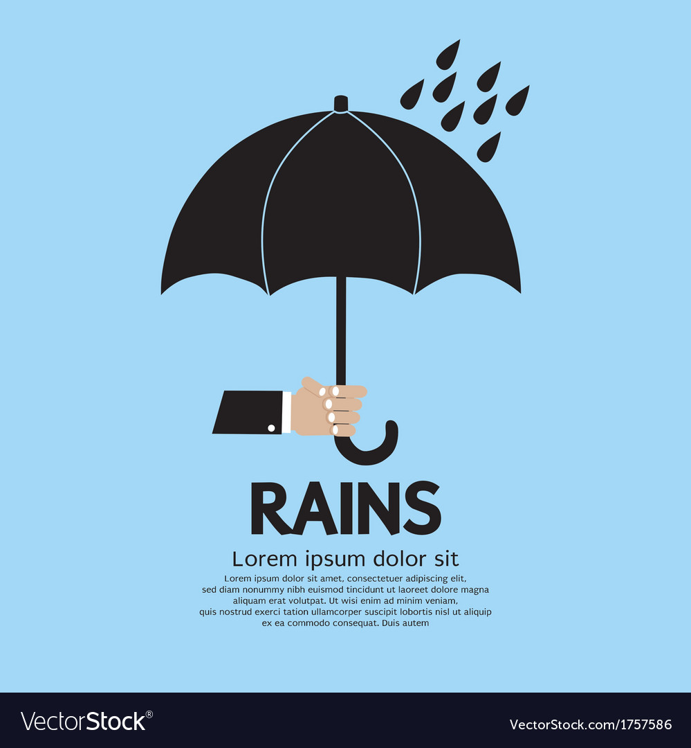 Umbrella in the rain vector | Price: 1 Credit (USD $1)