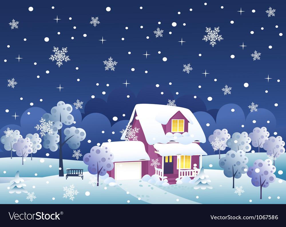 Winter night house vector   Price: 1 Credit (USD $1)