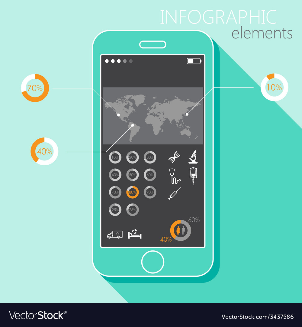 With a mobile phone set of infographic elements in vector   Price: 1 Credit (USD $1)