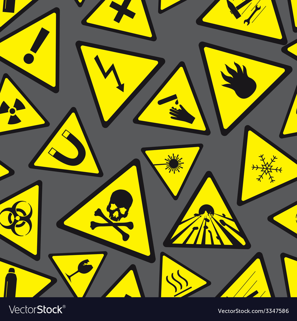 Yellow and black danger and warning signs pattern vector | Price: 1 Credit (USD $1)