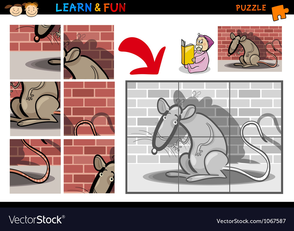 Cartoon rat puzzle game vector | Price: 3 Credit (USD $3)