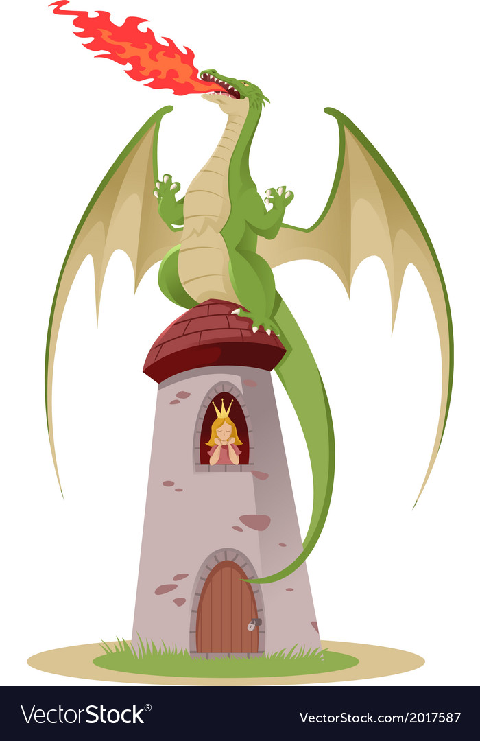 Dragon on the tower vector | Price: 1 Credit (USD $1)