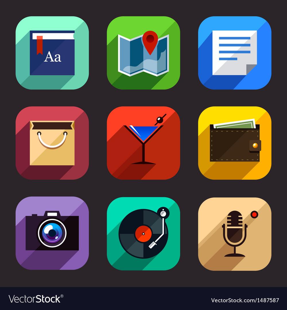 Flat app icons set 2 vector | Price: 1 Credit (USD $1)