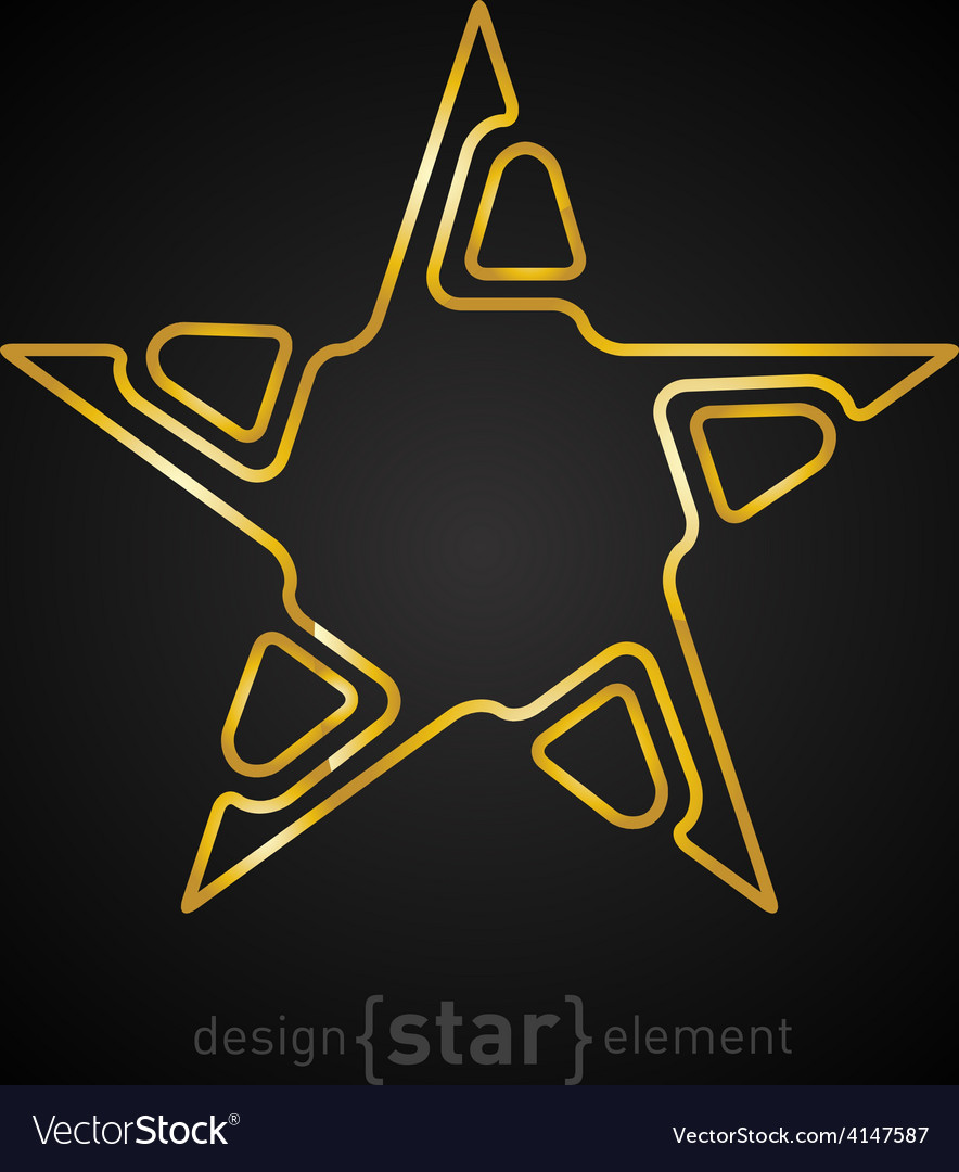 Gold abstract star on black background vector | Price: 1 Credit (USD $1)