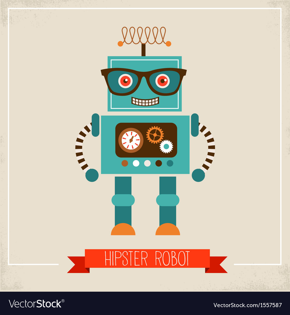 Hipster robot toy icon vector | Price: 3 Credit (USD $3)